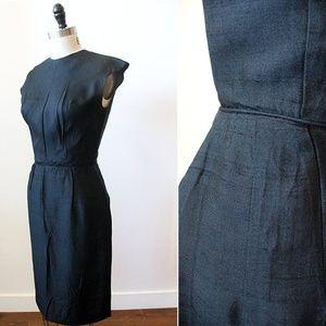 Vtg 60s Black Silk Sheath Wiggle Sleeveless Dress